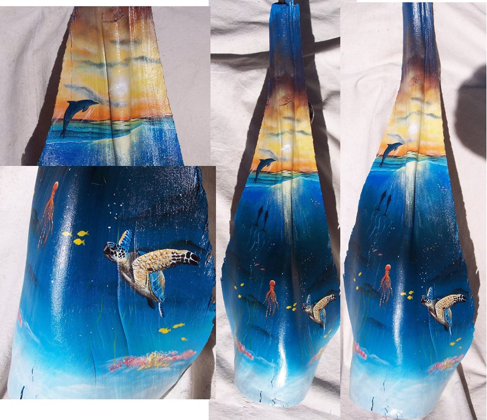 Original paintings on Palm Tree Fronds by Florida artist Gary Boswell