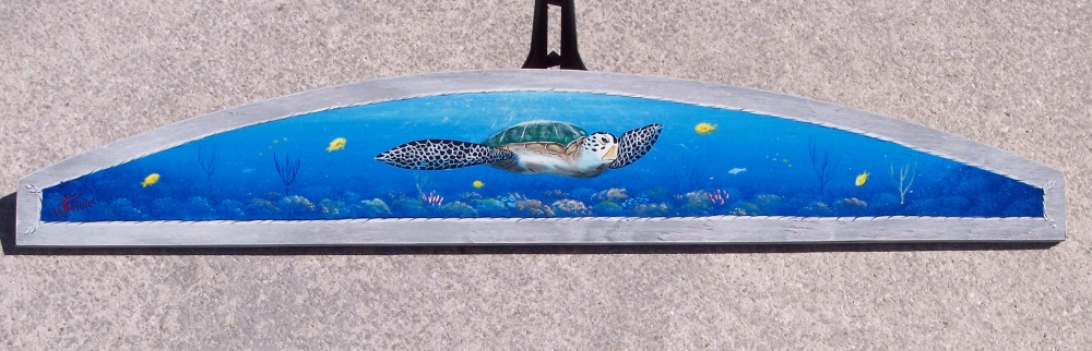 Sea Turtle over Coral Reef original painting by Gary Boswell