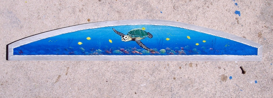 Sea Turtle over Coral Reef in Sunset original painting by Gary Boswell