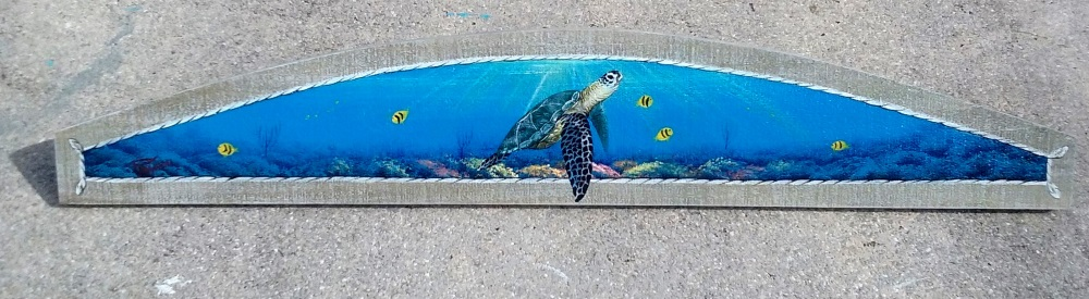 Sea Turtle over Coral Reef, original painting by Gary Boswell
