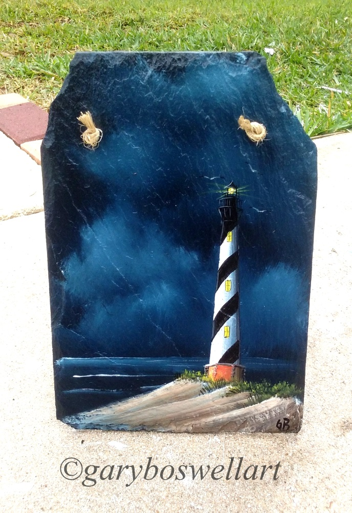 Cape Hatteras Lighthouse slate painting