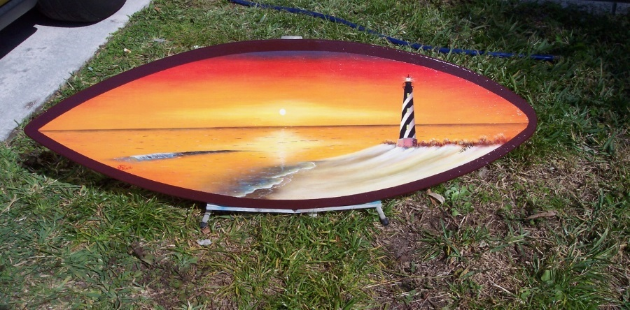 Cape Hatteras Lighthouse painted surfboard